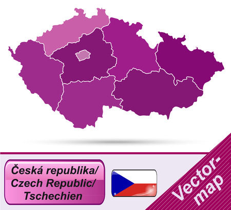 budweis: Map of Czech Republic with borders in violet Illustration
