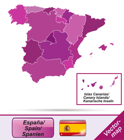 bilbao: Map of Spain with borders in violet Illustration
