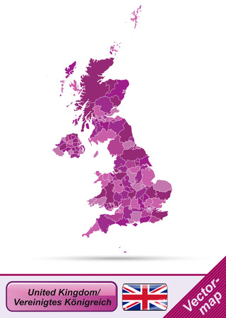Map of England with borders in violet