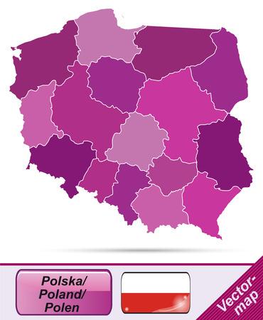 Mapa Polski z granicami w fioletowym