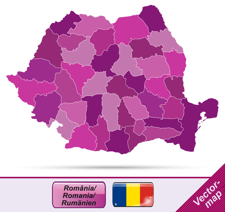 Map of Romania with borders in violet