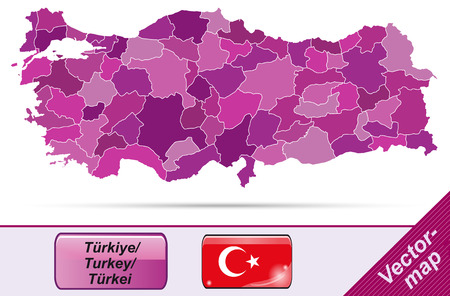 bursa: Map of Turkey with borders in violet