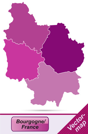 mines: Map of Burgundy with borders in violet