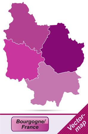 leu: Mappa di Borgogna con bordi in viola Vettoriali