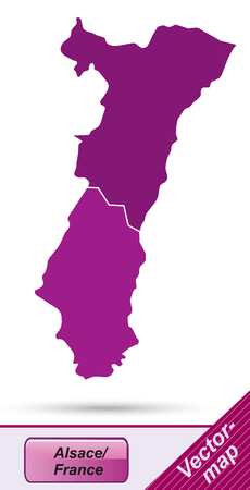 strasbourg: Map of Alsace with borders in violet Illustration
