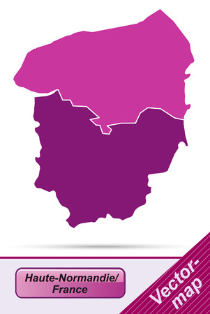 normandy: Map of Upper Normandy with borders in violet