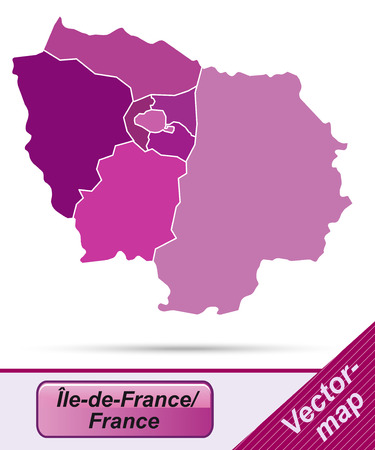 Map of Ile-de-France with borders in violet Vectores