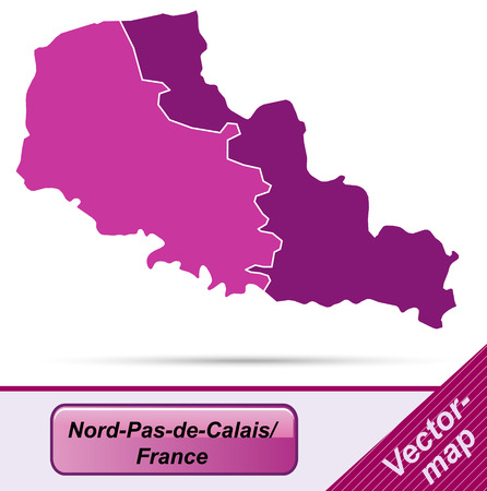 lille: Map of North-pas-de-calais with borders in violet