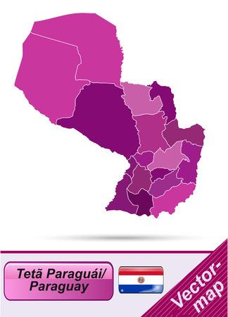 Map of Paraguay with borders in violet Ilustração