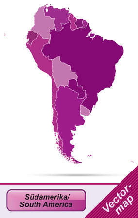 georgetown: Map of South America with borders in violet
