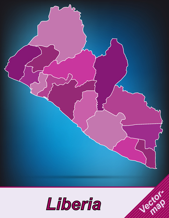 liberia: Map of Liberia with borders in violet