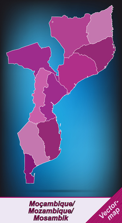 mozambique: Map of mozambique with borders in violet
