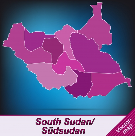 south sudan: Map of South Sudan with borders in violet