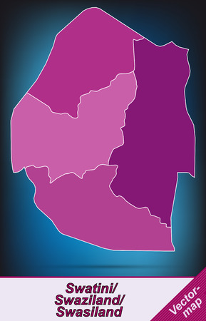 swaziland: Map of swaziland with borders in violet Illustration