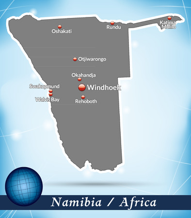 kalahari desert: Map of Namibia with abstract background in blue