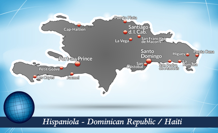 Map of hispaniola with abstract background in blue Vector
