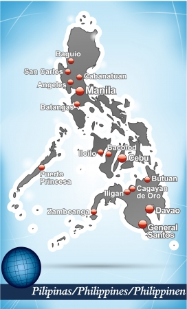 manila: Map of philippines with abstract background in blue