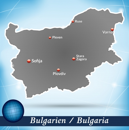 Map of Bulgaria with abstract background in blue