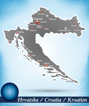 Map of Croatia with abstract background in blue Illustration