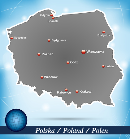 wroclaw: Map of Poland with abstract background in blue Illustration