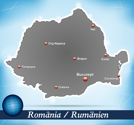 Map of Romania with abstract background in blue