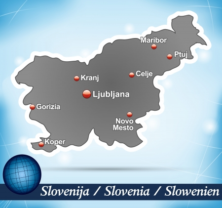 Map of Slovenia with abstract background in blue Ilustrace