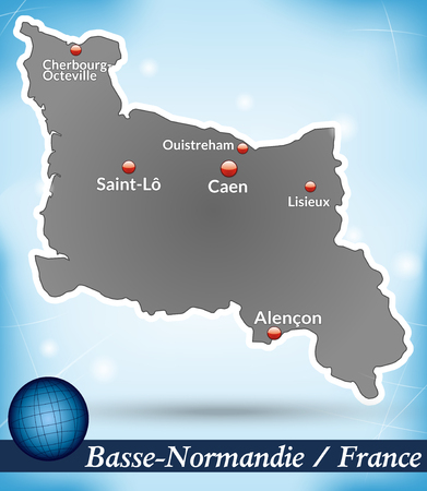 normandy: Map of Lower Normandy with abstract background in blue