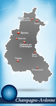 reims: Map of Champagne-Ardenne with abstract background in blue