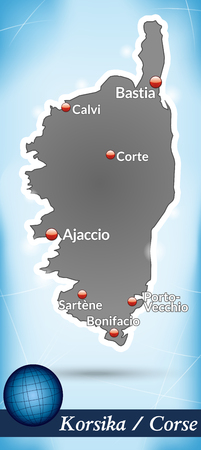 ajaccio: Map of corsica with abstract background in blue