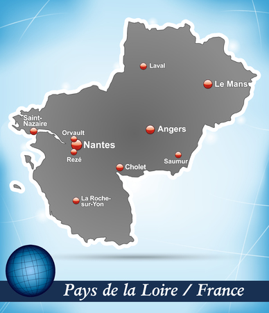 Map of Pays de la Loire with abstract background in blue