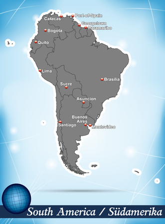 georgetown: Map of South America with abstract background in blue