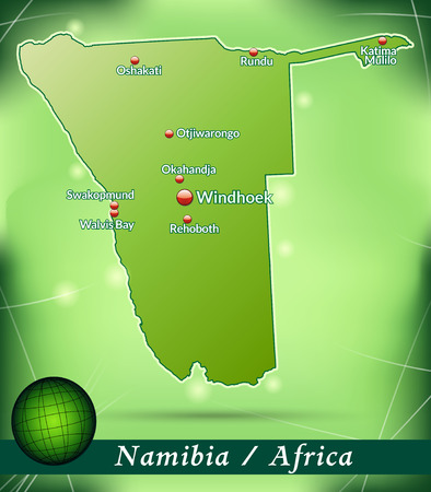 kalahari desert: Map of Namibia with abstract background in green