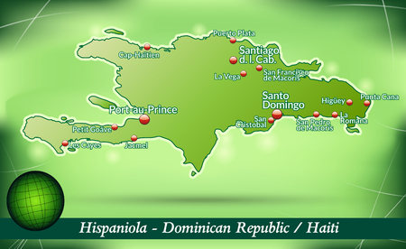 Map of hispaniola with abstract background in green Vector