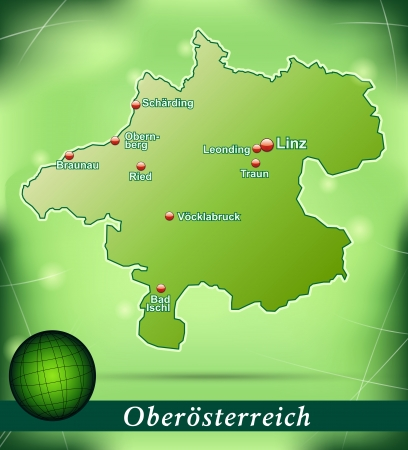 Map of upper Austria with abstract background in green Vector