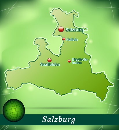 saalfelden: Map of salzburg with abstract background in green