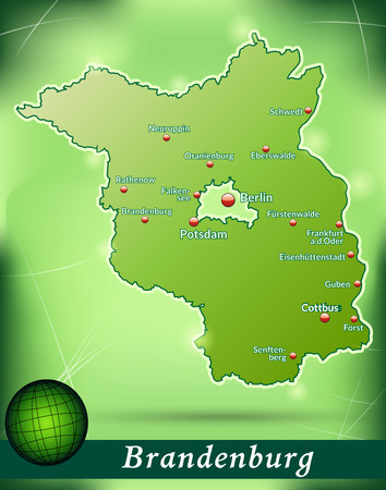 falkensee: Map of Brandenburg with abstract background in green