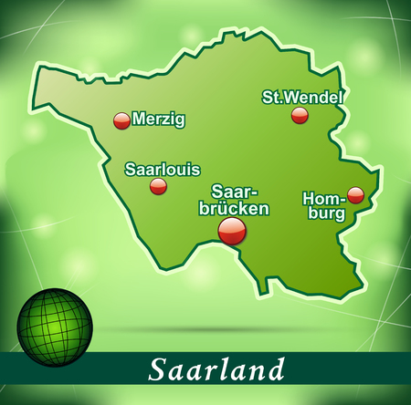saarlouis: Map of Saarland with abstract background in green Illustration