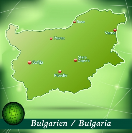 Map of Bulgaria with abstract background in green