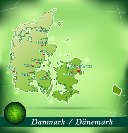 esbjerg: Map of Denmark with abstract background in green