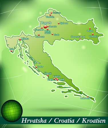 Map of Croatia with abstract background in green