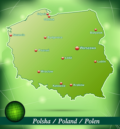 gdansk: Map of Poland with abstract background in green