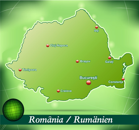 Map of Romania with abstract background in green