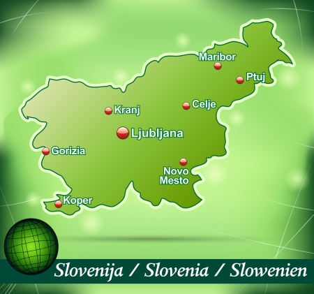 Map of Slovenia with abstract background in green Ilustrace