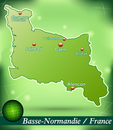 basse normandy: Map of Lower Normandy with abstract background in green Illustration
