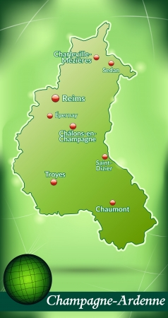 reims: Map of Champagne-Ardenne with abstract background in green Illustration