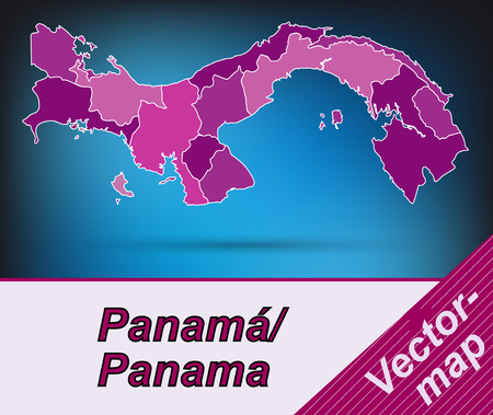 panama: Map of Panama with borders in violet