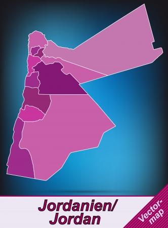 jordanian: Kaart van Jordanië met randen in violet Stock Illustratie