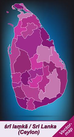 lanka: Map of Sri Lanka with borders in violet