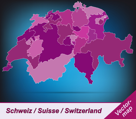 st gallen: Map of Switzerland with borders in violet Illustration