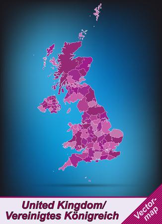 edinburgh: Karte von England mit Grenzen in violett